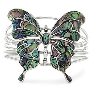 Abalone/Paua Shell 925 Sterling Silver Butterfly Bangle