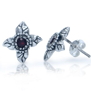 Natural Garnet 925 Sterling Silver Stud Earrings