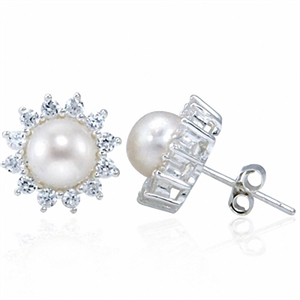Natural White Pearl & CZ 925 Sterling Silver Sunflower Stud Earrings