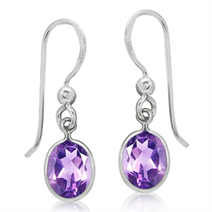 3.28ct. Natural Amethyst 925 Sterling Silver Dangle Earrings