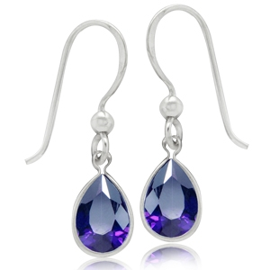 Amethyst Purple CZ 925 Sterling Silver Drop Dangle Earrings