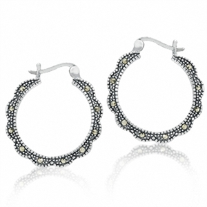 Marcasite 925 Sterling Silver Hoop Earrings