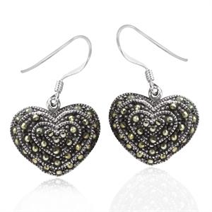 Marcasite 925 Sterling Silver Heart Dangle Earrings