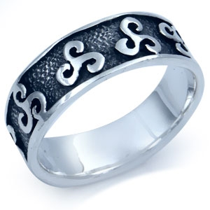 Tribal Surfer Sterling Silver Casual Men&#39s Ring