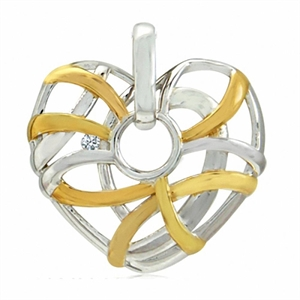 White Diamond Two-Tone Gold Plated 925 Sterling Silver Weave Heart Pendant