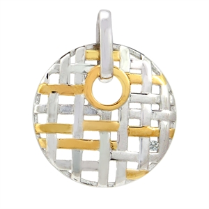 White Diamond Two-Tone Gold Plated 925 Sterling Silver Weave Circle Pendant