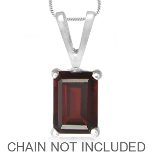 1.28ct. Natural January Birthstone Garnet 925 Sterling Silver Solitaire Pendant