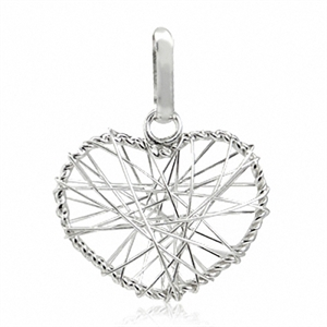 925 Sterling Silver Handmade Wire HEART Pendant