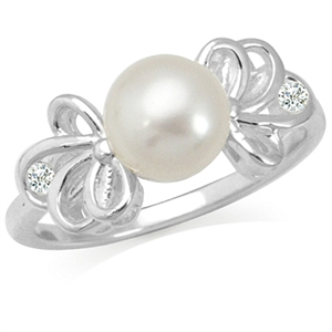 7MM Natural White Pearl & White Topaz 925 Sterling Silver Ribbon Ring