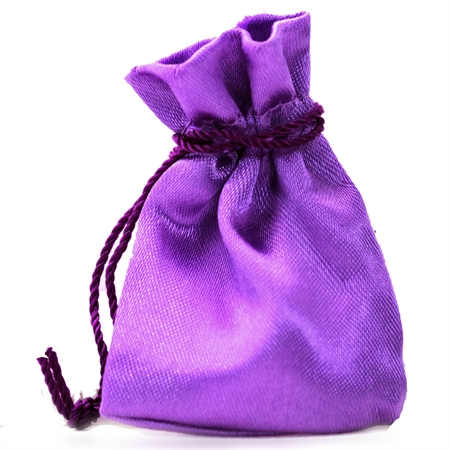 "2"" Purple Satin Jewelry Pouch/Bag"