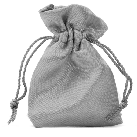 """2"""" Silver Gray Satin Jewelry Pouch/Bag"""