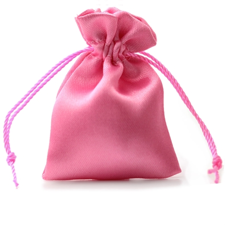 """2"""" Rose Pink Satin Jewelry Pouch/Bag"""