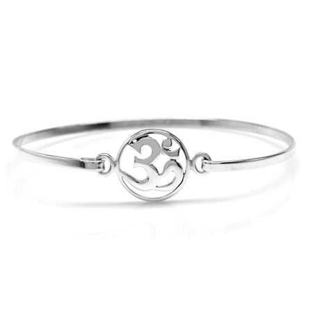 925 Sterling Silver Casual OMKAR Teens/Girls Bangle 6.5 Inch.
