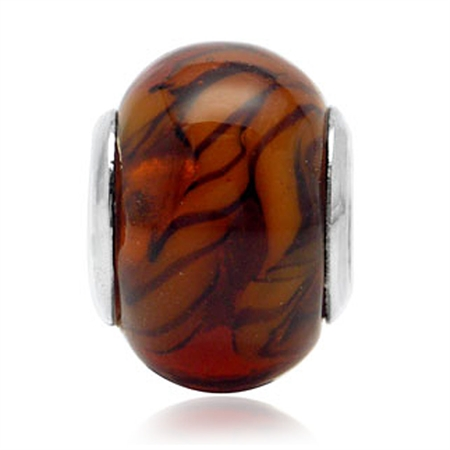 Brown Murano Glass 925 Sterling Silver European Charm Bead (Fits Pandora Chamilia)