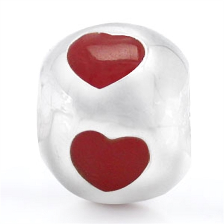 Created Red Coral 925 Sterling Silver HEART European Charm Bead (Fits Pandora Chamilia)