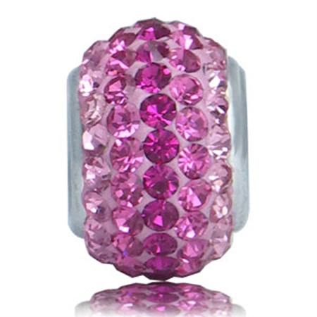 Pink Clay Crystal 925 Sterling Silver European Charm Bead (Fits Pandora Chamilia)