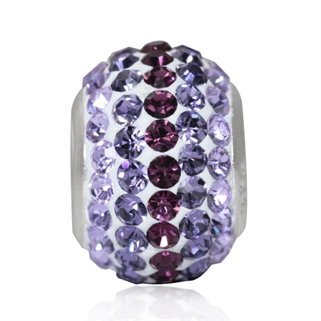 Amethyst Purple & Tanzanite Crystal 925 Sterling Silver European Charm Bead (Fits Pandora Chamilia)