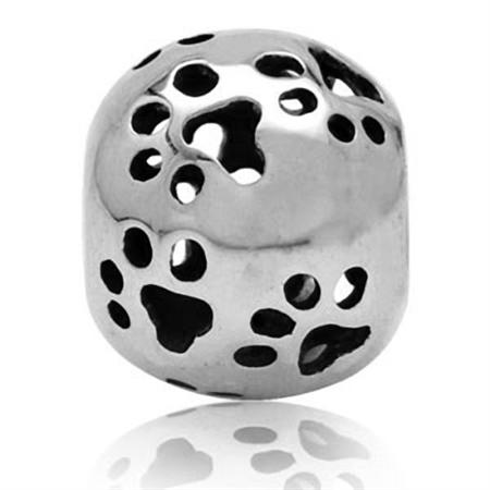 925 Sterling Silver FILIGREE PAW PRINTS European Charm Bead (Fits Pandora Chamilia)