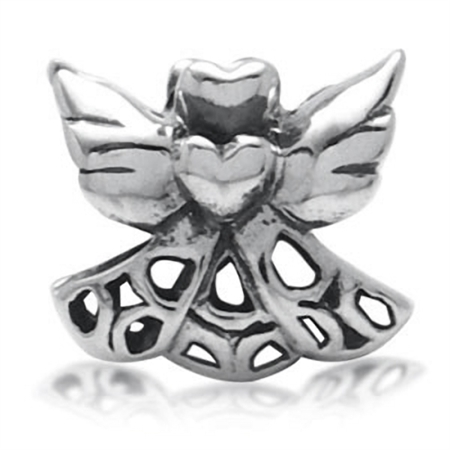 925 Sterling Silver Heart Angel Wings European Charm Bead (Fits Pandora Chamilia)