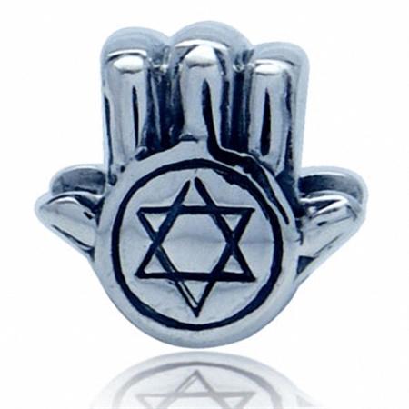 AUTH Nagara 925 Sterling Silver STAR OF DAVID HAND European Charm Bead (Fits Pandora Chamilia)