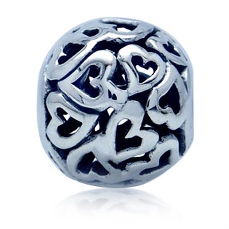 925 Sterling Silver Filigree HEART BALL European Charm Bead (Fits Pandora Chamilia)