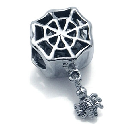 925 Sterling Silver SPIDER WEB Dangle European Charm Bead (Fits Pandora Chamilia)