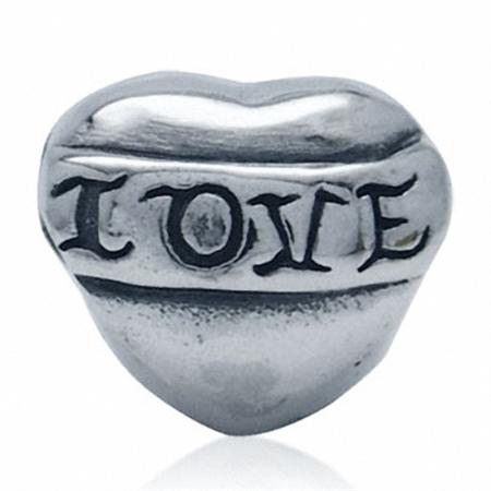 925 Sterling Silver LOVE HEART European Charm Bead (Fits Pandora Chamilia)