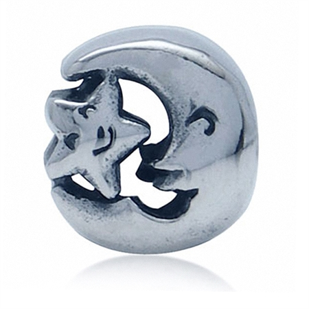 925 Sterling Silver STAR MOON European Charm Bead (Fits Pandora Chamilia)