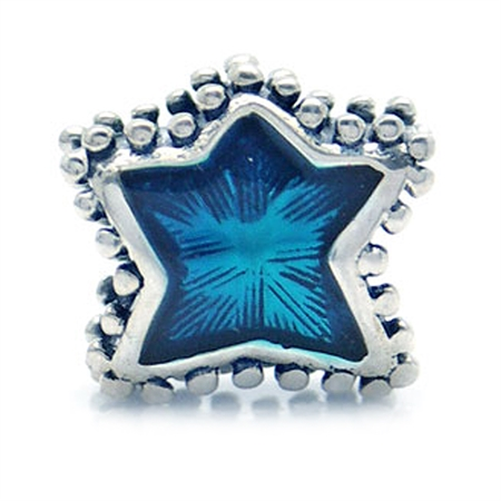 Blue Enamel 925 Sterling Silver Star European Charm Bead (Fits Pandora Chamilia)