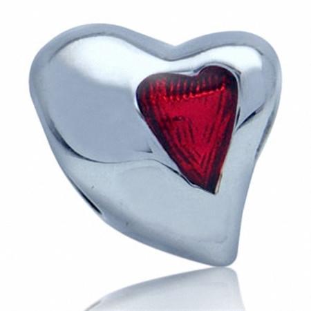 AUTH Nagara Red Enamel 925 Sterling Silver HEART European Charm Bead (Fits Pandora Chamilia)