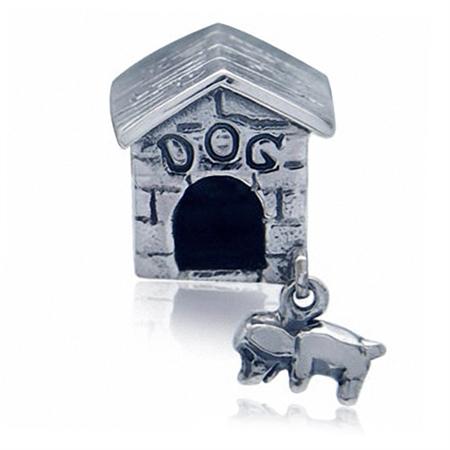 925 Sterling Silver Dog House European Charm Dangling Bead (Fits Pandora Chamilia)