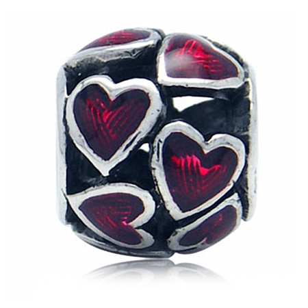 Red Enamel 925 Sterling Silver Filigree HEART European Charm Bead (Fits Pandora Chamilia)