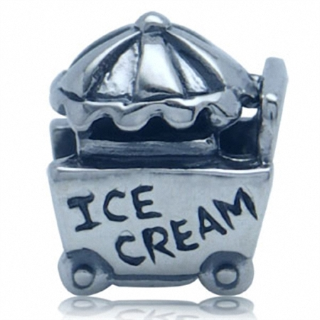 925 Sterling Silver Ice Cream Cart European Charm Bead (Fits Pandora Chamilia)