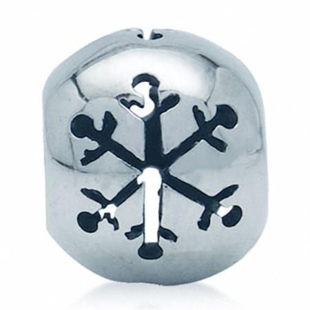 925 Sterling Silver Snowflake Filigree European Charm Bead (Fits Pandora Chamilia)