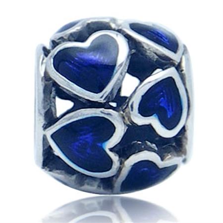 Blue Enamel 925 Sterling Silver Filigree HEART European Charm Bead (Fits Pandora Chamilia)