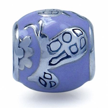 AUTH Nagara BUTTERFLY Purple Enamel Silver Bead Charms fits Pandora Chamilia