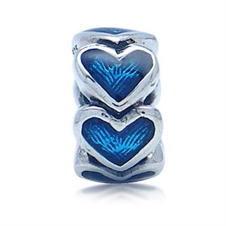 Blue Enamel 925 Sterling Silver HEART European Charm Bead (Fits Pandora Chamilia)