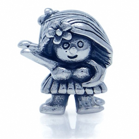 925 Sterling Silver Hawaiian Girl European Charm Bead (Fits Pandora Chamilia)