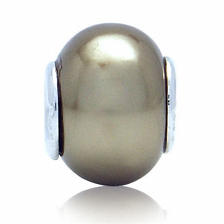 Imitation Golden Pearl 925 Sterling Silver European Charm Bead (Fits Pandora Chamilia)