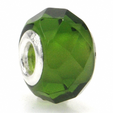 Olive Green Murano Glass 925 Sterling Silver European Charm Bead (Fits Pandora Chamilia)
