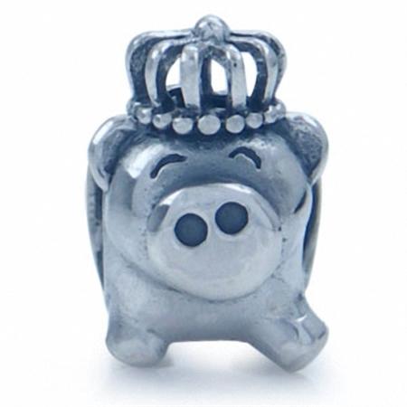 925 Sterling Silver PIG w/Crown European Charm Bead (Fits Pandora Chamilia)