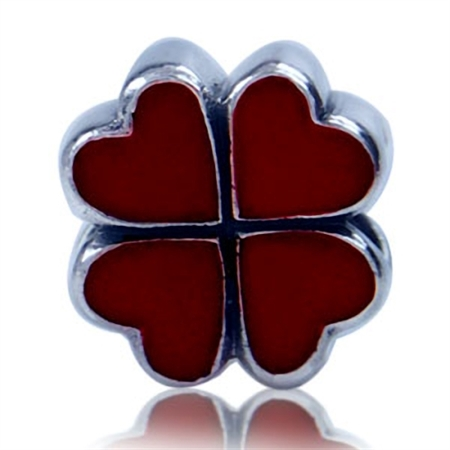 Red Enamel 925 Sterling Silver FOUR-LEAF CLOVER European Charm Bead (Fits Pandora Chamilia)