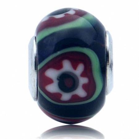 Multi Colored Murano Glass 925 Sterling Silver Flower European Charm Bead (Fits Pandora Chamilia)
