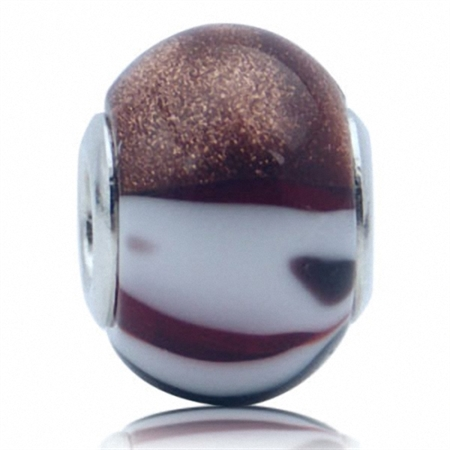 White & Brown Murano Glass 925 Sterling Silver European Charm Bead (Fits Pandora Chamilia)