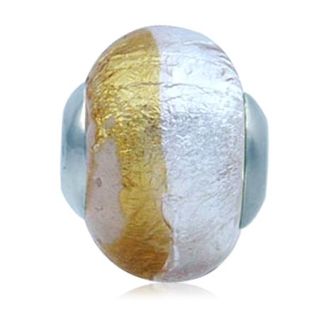 Silver Foil Yellow Italian Murano Glass 925 Sterling Silver European Bead (Fits Pandora Chamilia)