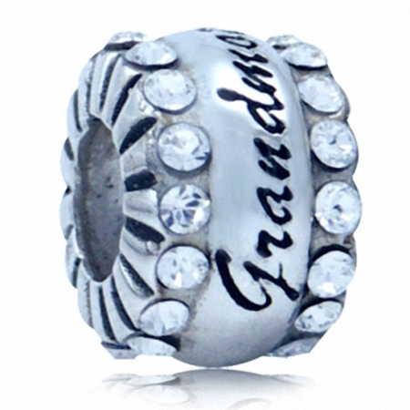 White Crystal 925 Sterling Silver GRANDMOTHER European Charm Bead (Fits Pandora Chamilia)
