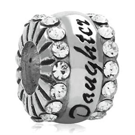 AUTH Nagara White Crystal 925 Sterling Silver DAUGHTER European Charm Bead (Fits Pandora Chamilia)
