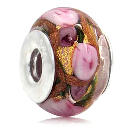 18K Gold & Copper Foil Purple Italian Murano Glass 925 Sterling Silver European Charm Bead