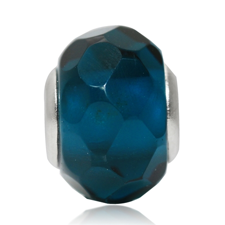London Blue Murano Glass 925 Sterling Silver European Charm Bead (Fits Pandora Chamilia)