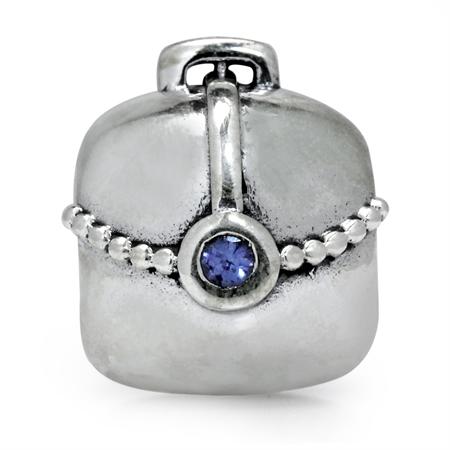 Genuine Tanzanite 925 Sterling Silver Handbag European Charm Bead (Fits Pandora Chamilia)